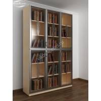 шкаф для книг c витражным стеклом цвета беленый дуб - венге