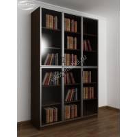 3-дверный шкаф для книг цвета венге - молочный дуб