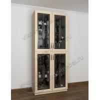 шкаф-витрина с витражом цвета молочный беленый дуб