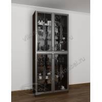 модульный шкаф-витрина цвета венге