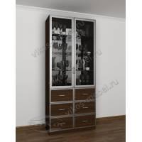 шкаф-витрина в классическом стиле цвета венге