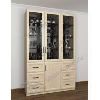 шкаф-витрина в классическом стиле цвета молочный беленый дуб