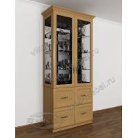 шкаф-витрина со стеклом сбоку в классическом стиле