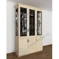 классический шкаф-витрина цвета молочный беленый дуб