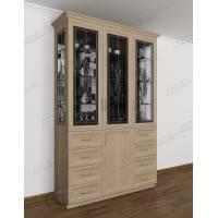 шкаф-витрина со стеклом сбоку с витражом
