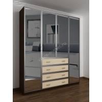шкаф с распашными дверями с ящиками для мелочей цвета венге - молочный дуб