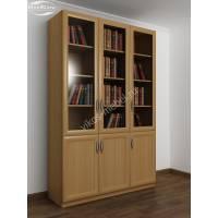 трехстворчатый книжный шкаф со стеклом цвета бук
