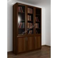 трехстворчатый книжный шкаф со стеклом цвета яблоня