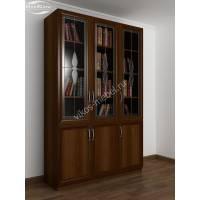 книжный шкаф со стеклом c витражным стеклом цвета яблоня