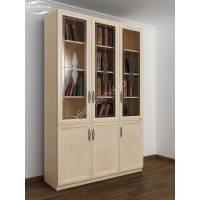 трехстворчатый книжный шкаф со стеклом с витражом