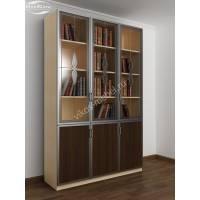 трехстворчатый книжный шкаф со стеклом цвета беленый дуб - венге