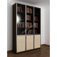 трехстворчатый книжный шкаф со стеклом цвета венге - молочный дуб
