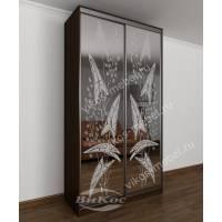 шкаф купе с пескоструйным зеркалом цвета венге