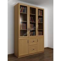 трехдверный книжный шкаф со стеклянными дверями цвета бук