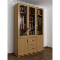 книжный шкаф со стеклянными дверями c витражным стеклом цвета бук