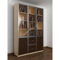 трехдверный книжный шкаф со стеклянными дверями цвета беленый дуб - венге