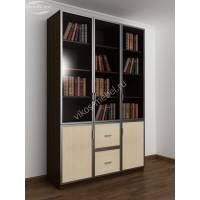 трехдверный книжный шкаф со стеклянными дверями цвета венге - молочный дуб