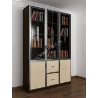книжный шкаф со стеклянными дверями с витражом цвета венге - молочный дуб