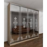 4-створчатый шкаф с раздвижными дверями цвета шимо светлый