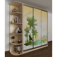 4-створчатый шкаф с раздвижными дверями цвета молочный беленый дуб