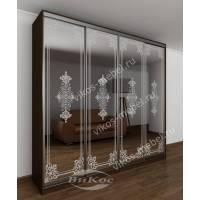 шкаф с раздвижными дверями с пескоструйным зеркалом цвета венге