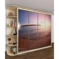 шкаф с раздвижными дверями с подсветкой с фотопечатью