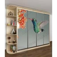 шкаф с раздвижными дверями с подсветкой цвета молочный беленый дуб