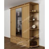 шкаф с раздвижными дверями с пескоструйным зеркалом цвета бук