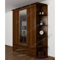 шкаф с раздвижными дверями с зеркалом цвета яблоня