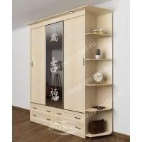 шкаф с раздвижными дверями с подсветкой с ящиками
