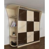 шкаф с раздвижными дверями с подсветкой цвета беленый дуб - венге