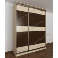 трехстворчатый шкаф с раздвижными дверями цвета беленый дуб - венге
