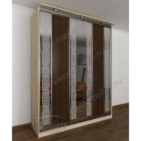 шкаф с раздвижными дверями с зеркальной дверью цвета беленый дуб - венге