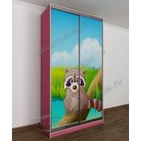 детский шкаф купе для девочки розового цвета