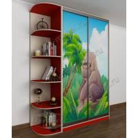 шкаф купе в детскую для девочки красного цвета
