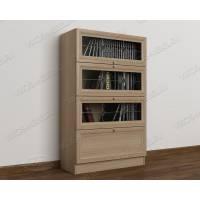 книжный шкаф c витражным стеклом цвета шимо светлый