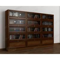 шкаф для книг библиотека c витражным стеклом