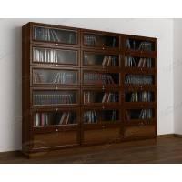 3-дверный книжный шкаф со стеклом библиотека