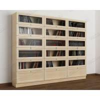 3-дверный книжный шкаф со стеклом цвета молочный беленый дуб