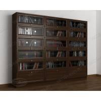 книжный шкаф со стеклом библиотека цвета венге