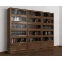 3-дверный книжный шкаф со стеклом цвета шимо темный