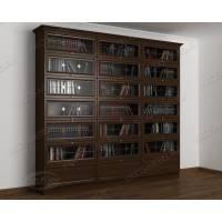 книжный шкаф со стеклянными дверями c витражным стеклом цвета венге