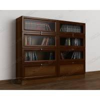книжный шкаф со стеклом библиотека цвета яблоня