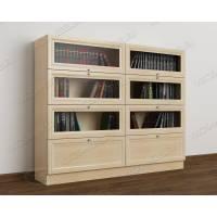 книжный шкаф со стеклом библиотека цвета молочный беленый дуб