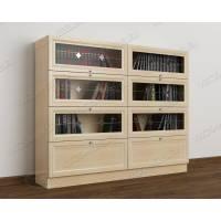 2-створчатый книжный шкаф со стеклом цвета молочный беленый дуб