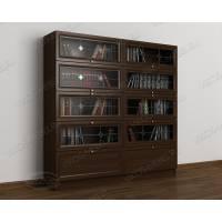 книжный шкаф со стеклянными дверями с витражом цвета венге