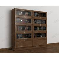 2-дверный книжный шкаф со стеклянными дверями цвета шимо темный