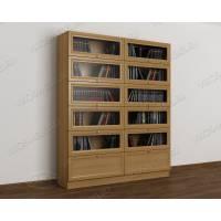 двухстворчатый книжный шкаф со стеклянными дверцами цвета бук