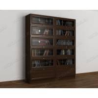 книжный шкаф со стеклянными дверцами c витражным стеклом цвета венге