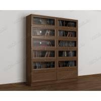 витражный книжный шкаф со стеклянными дверцами цвета шимо темный